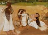 Women combing their hair