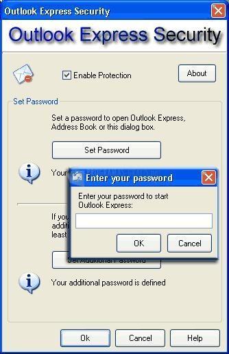 Pantallazo Outlook Express Security