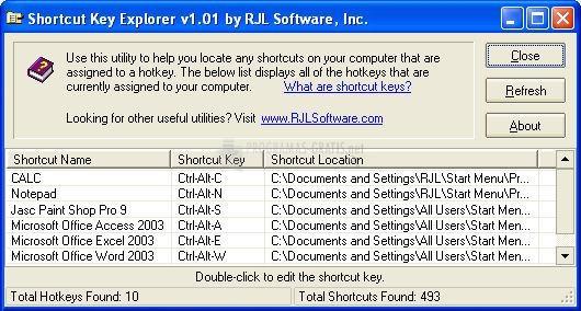 Pantallazo Shortcut Key Explorer