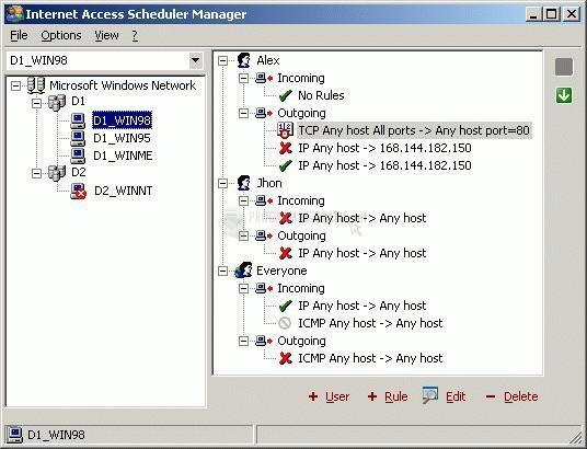 Pantallazo Internet Access Scheduler