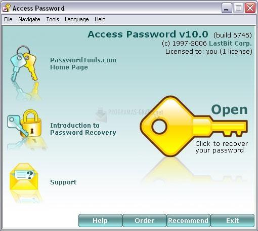 Pantallazo Access Password