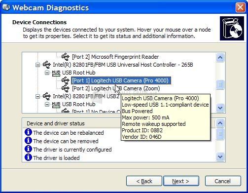 Pantallazo Webcam Diagnostics