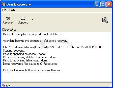 Pantallazo Recovery for Oracle