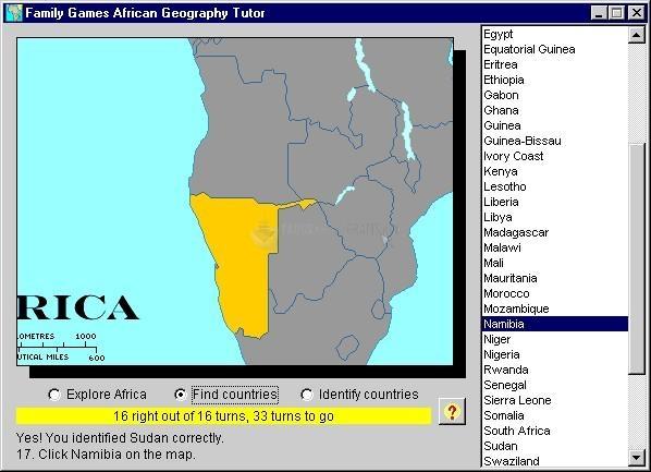 Pantallazo African Geography Tutor