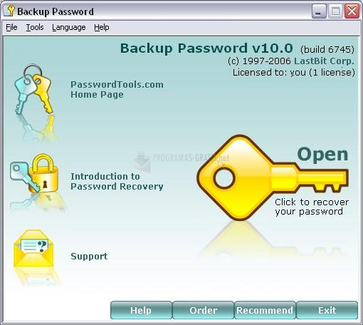 Pantallazo Backup Password