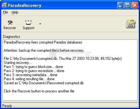 Pantallazo ParadoxRecovery