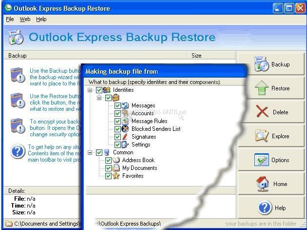 Pantallazo Outlook Express Backup Restore