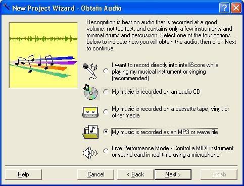 Pantallazo IntelliScore Polyphonic