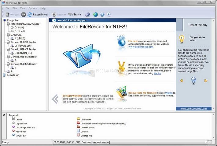 Pantallazo FileRescue for NTFS