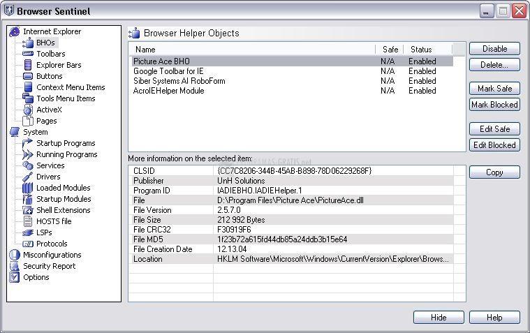 Pantallazo Browser Sentinel