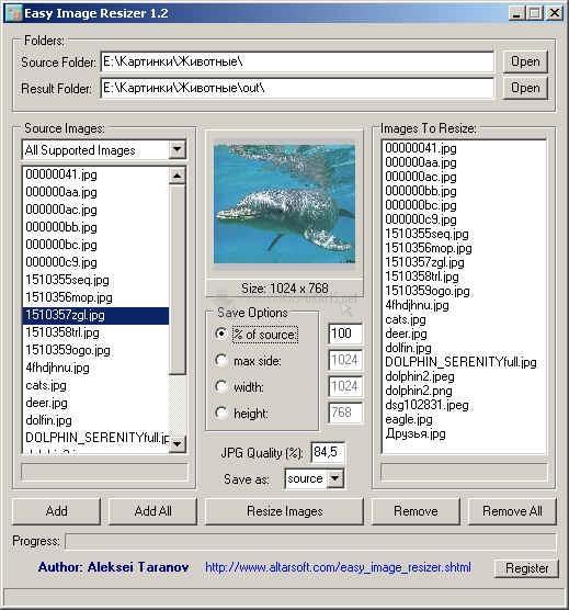 Pantallazo Easy Image Resizer
