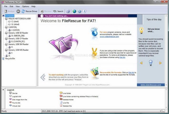 Pantallazo FileRescue for FAT