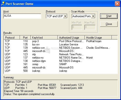 Pantallazo Port Scanner ActiveX Control