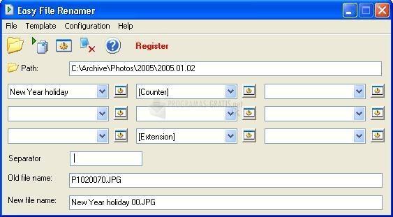 Pantallazo Easy File Renamer