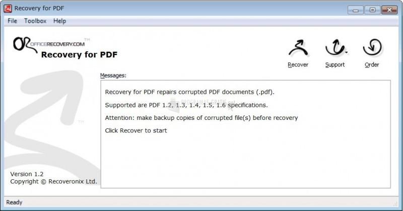 Pantallazo PDFRecovery