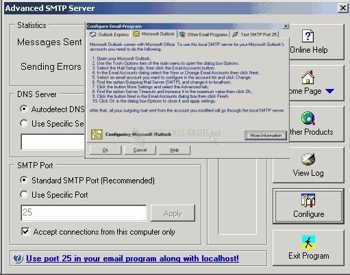 Pantallazo Advanced SMTP Server