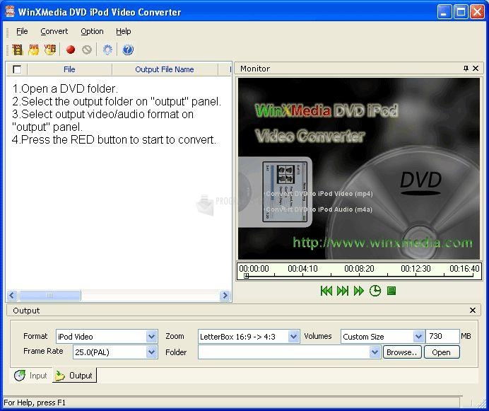 Pantallazo Winxmedia DVD iPod Video Converter