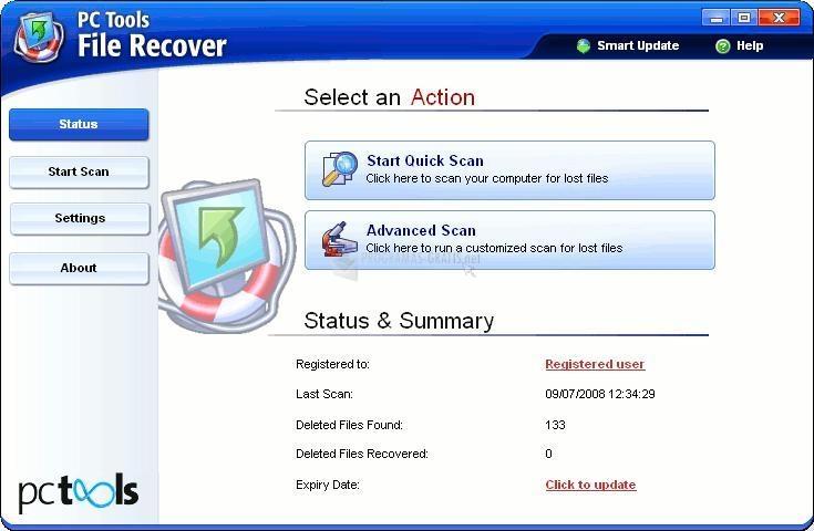 Pantallazo PC Tools File Recover