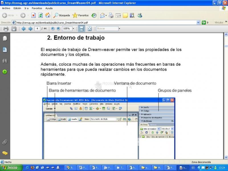 Pantallazo Manual Dreamweaver 2004