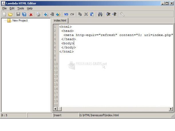Pantallazo Lambda HTML Editor