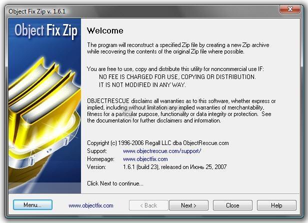 Pantallazo Object Fix Zip