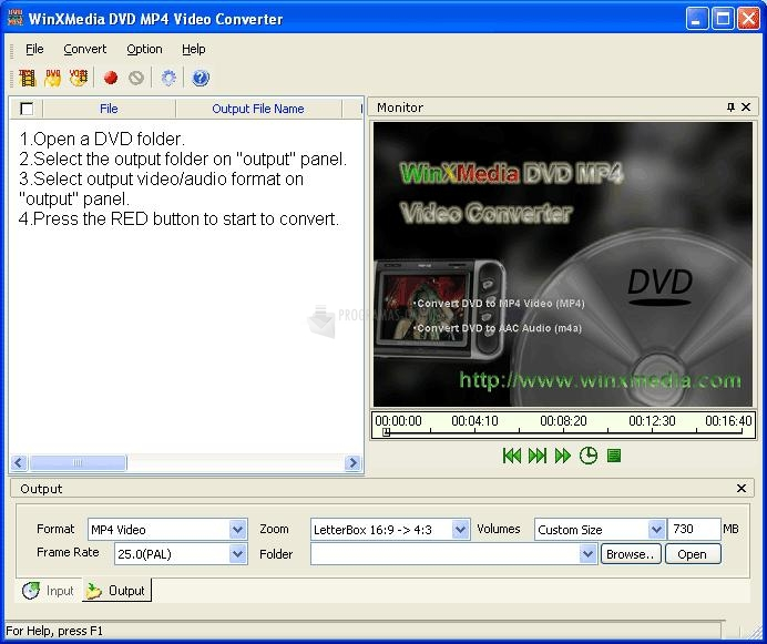 Pantallazo Winxmedia DVD MP4 Video Converter