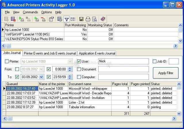 Pantallazo Adv Printers Activity Logger