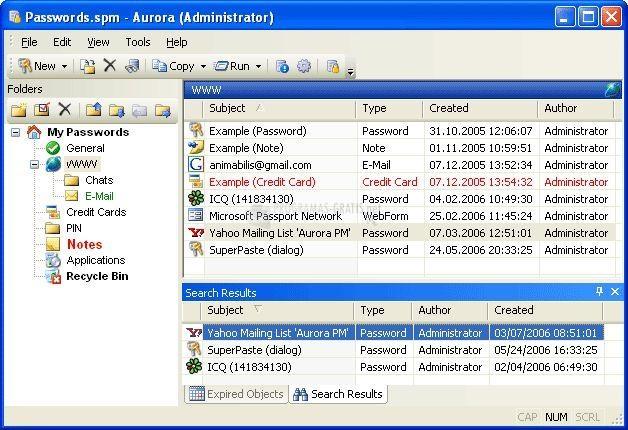 Pantallazo Aurora Password Manager
