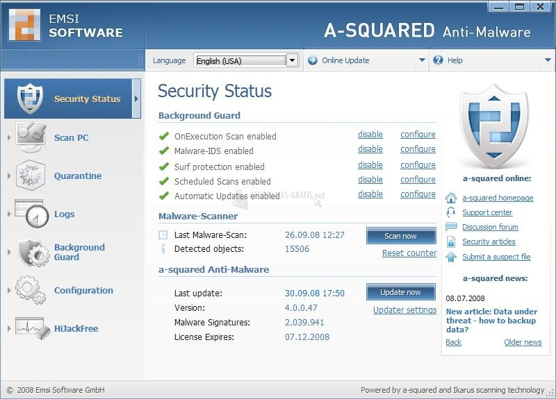 Captura A-squared Anti-Malware