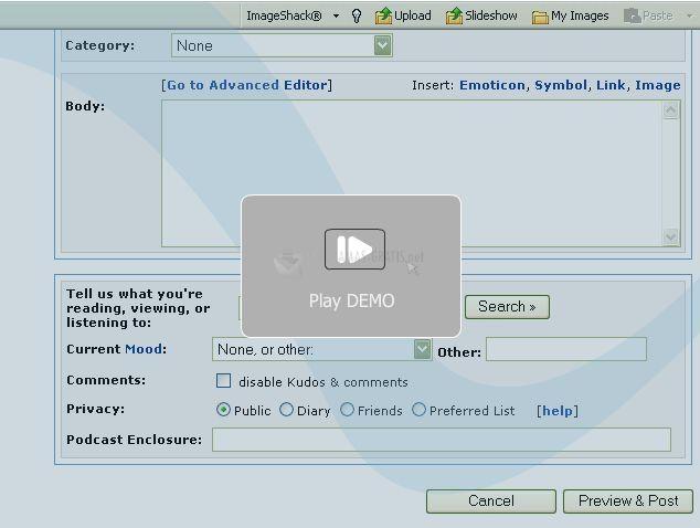 Pantallazo ImageShack Toolbar