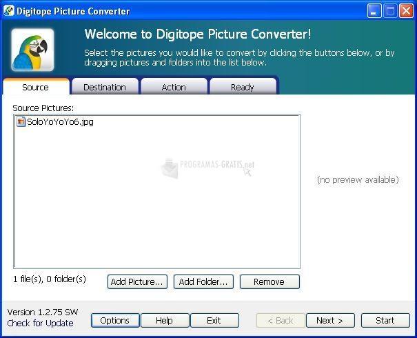 Pantallazo Digitope Picture Converter
