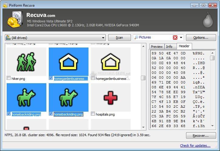 Screenshot Recuva