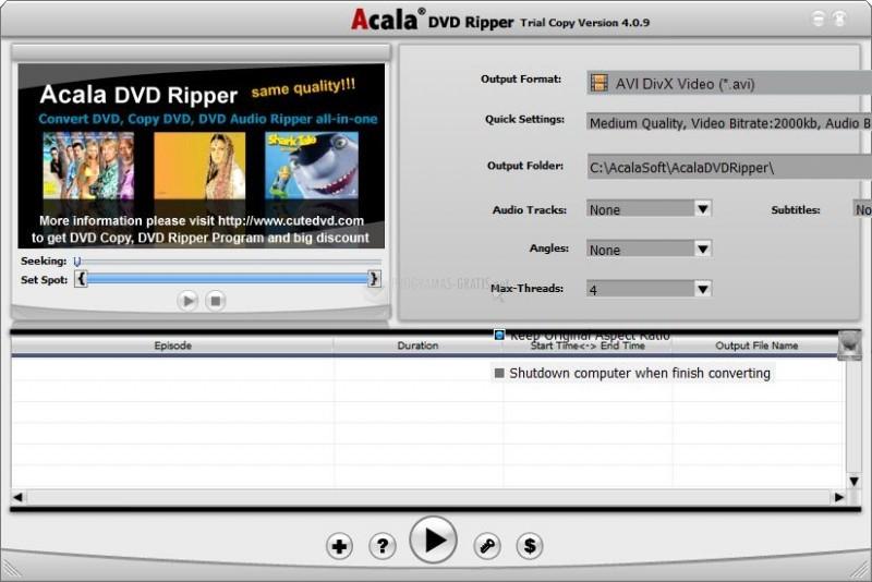 Pantallazo Acala DVD Ripper