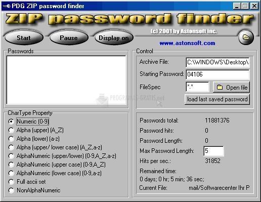 Pantallazo Zip Password Finder