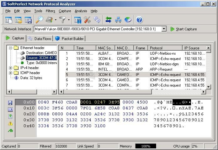 Pantallazo Network Protocol Analyzer