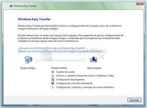 Pantallazo Windows Easy Transfer