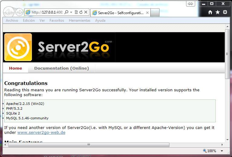 Pantallazo Server2Go