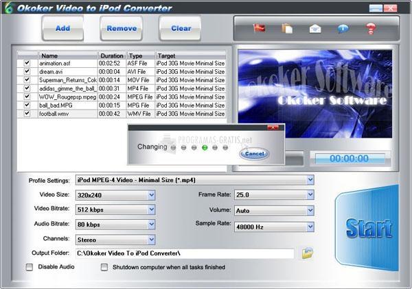Pantallazo Okoker Video to iPod Converter