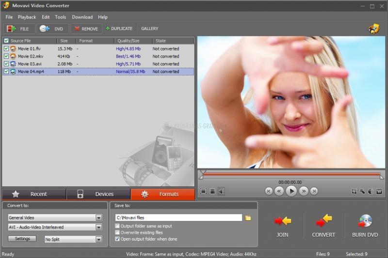 Pantallazo Movavi Video Converter