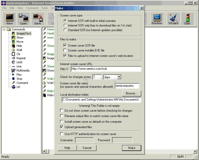 Pantallazo Internet ScreenSaver Builder