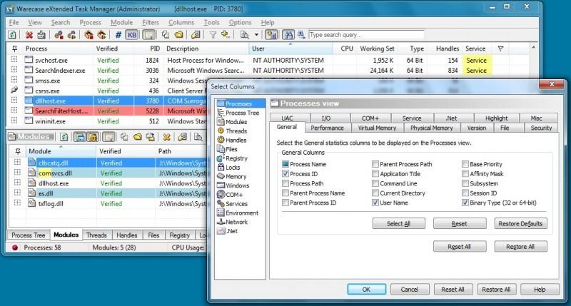 Pantallazo Warecase eXtended Task Manager