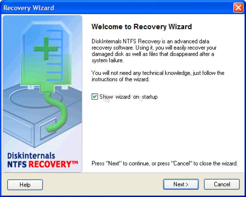 Pantallazo DiskInternals NTFS Recovery
