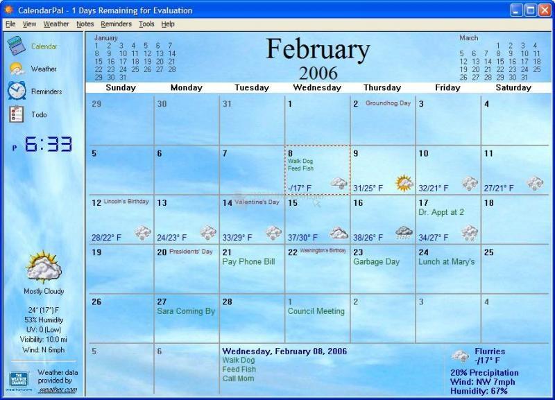 Pantallazo CalendarPal