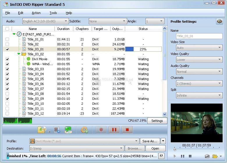 Pantallazo ImTOO DVD to AVI Suite