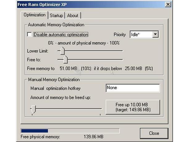 Pantallazo Free RAM Optimizer XP