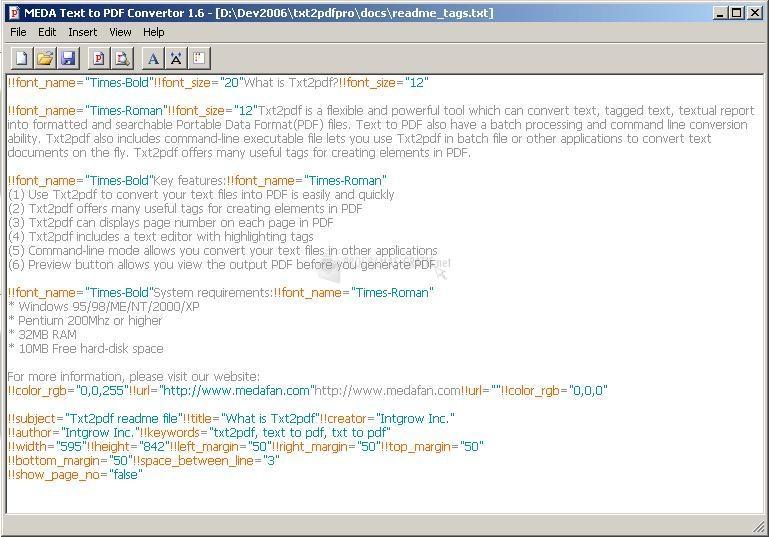 Pantallazo MEDA Text to PDF Converter