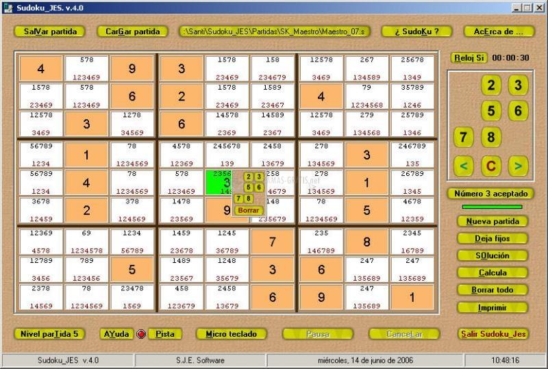 Pantallazo Sudoku JES