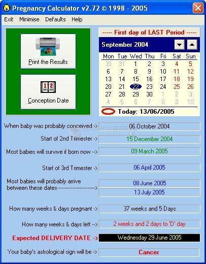 Pantallazo Pregnancy Calculator