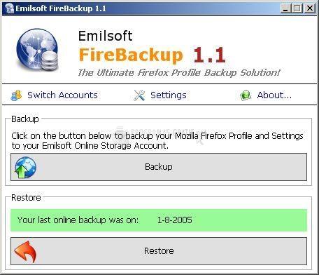 Pantallazo Emilsoft FireBackup