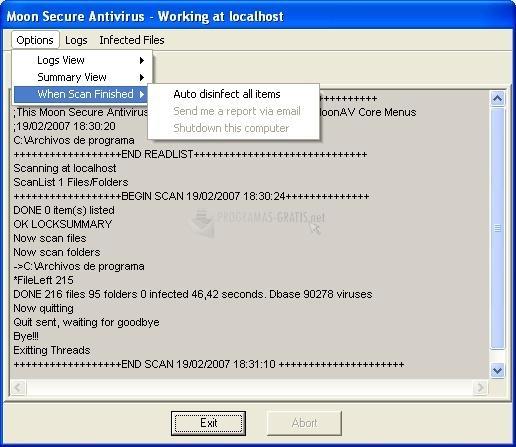 Pantallazo Moon Secure Antivirus